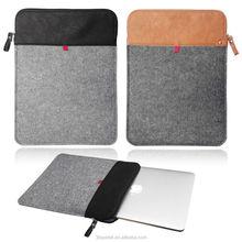 Smart Laptop Felt Sleeve Case Cover Bag Vertical Felt & Leather sleeve with ZIP for laptop Macbook Pro 13