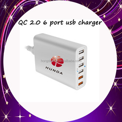 KC FCC UL qualcomm quick charge 2.0 Multi Port Usb US EU 6 charger QC 2.0 for HTC M9, Xperia Z3 / Z2, for Moto X desktop charger