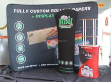 newly trade fair double sided printing curved fabric display