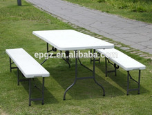 Folding outpicnic dining table /portable plastic camping dining table and benches /strong metal frame outdoor tables