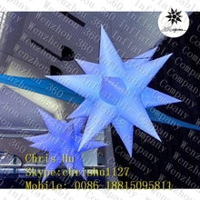 Good quality wholesale 12-poined inflatable hanging decoration spikey stars with LED light