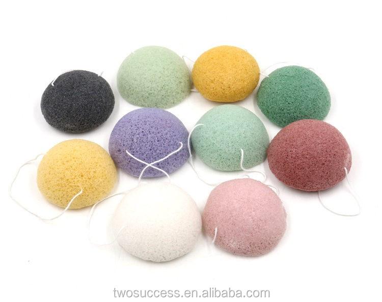Deep cleansing natural konjac fiber round soft face wash sponge .jpg