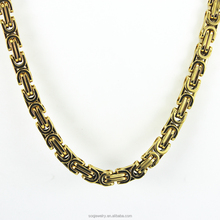 Hot Sales Mens Gold Plated 8MM Byzantine Necklace 24 inch fashion jewelery yiwu