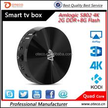 Quad core Amlogic s812 S82 4K Android tv box S82 4K tv box 2G DDR 8G Flash H.265 decoding