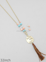 FAITH HOPE LOVE BEADED WITH SUEDE TASSEL LONG NECKLACES SET