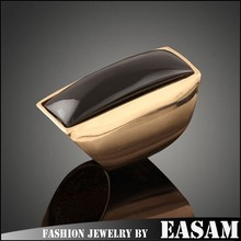Men&women gender ring big acrylic stone set gold plated ring