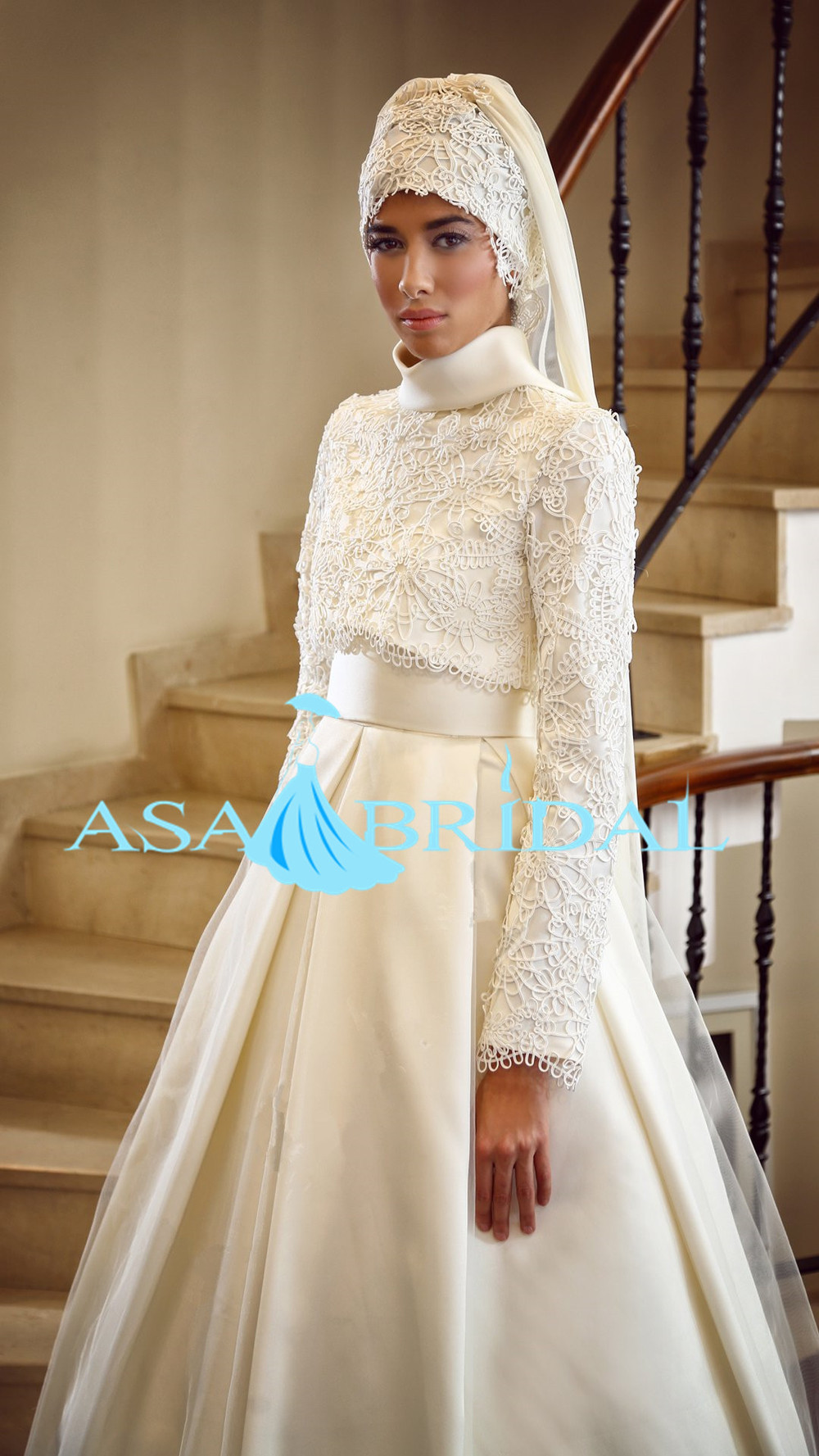 2015 Newest White Arab Long Sleeve Gelinlik Beading Turkish Muslim ...