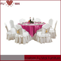 The fast delivery banquet wedding decoration white clothes materials in table skirting