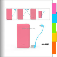 Pink portable mobile charger for different smart phones