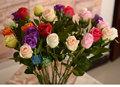 30pcs/lot 61cm flores artificiais de seda rosa vermelha branca casa casamento decrative toque real flores buquês de flores arranjo a076