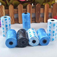 1 Roll Pet Dog Waste Pick Poop Bags Biodegradable Clean Up Lovely Paw Printed Products Puppy Supplies