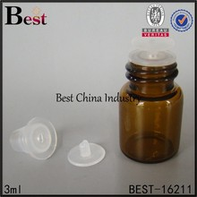 essential oil glass vial with reducer, 3ml, manufacture china, round shape, 2 free samples