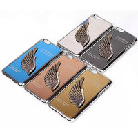Luxury 3D Love Wings Metal Chrome Hard Case Cover Skin For iPhone 6 Plus