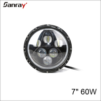 High-Low beam waterproof 7 inch 60w LED work light with angle eyes for offroad motorcycle