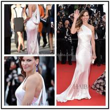 Beautiful Ladies Ivory One Shoulder Designs Floor Length Custom Make Long Celebrity Red Carpet Dress RD014 design of satin dress