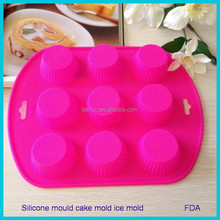 Pastry puff Muffin jelly pudding fondant baking equipment cake pan 9holes cake/chocolate silicone round shape DIY new cookie