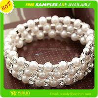 China supplier fashion rhinestone crystal multi layer pearl chain pearl bracelet