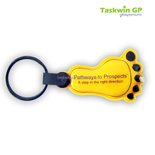 China supplier cheap PVC reflective keychain , Feet LED PVC keychain for promotion use with silk-screen logo