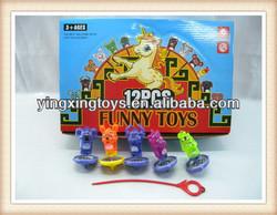 hot sell pull ruler animal flashing spinning top