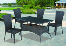 Stackable Rattan dining table and chairs set garden patio furniture