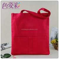 Fashion 2015 canvas beach tote bags wholesale canvas shopping bags with pocket