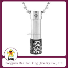 Hot sell fashion bottle perfume cremation urn pendant stainless steel balck and silver aroma bottle pendant with shiny crystal