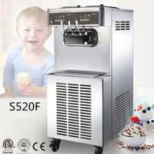 Lowest noise 3 flavor commercial soft serve ice cream machine with air pump