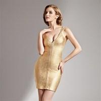 Deep V neckline gold night club bodycon party dress