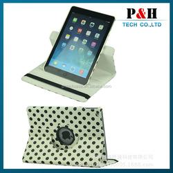 For ipad leather case, Polka Dot 360 Rotating PU Leather Case For Apple iPad 6