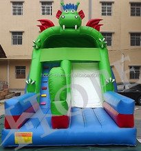 Big blue dragón inflable tobogán