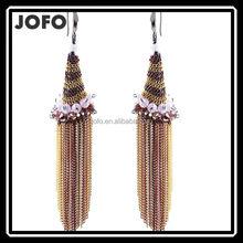 High Grade Crystal Conch Long Earrings Women Sweet Heart Tassel Earring