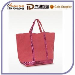Red Linen Plain Shopping Bag Organizer