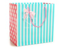 Custom printing Laminated Gift Paper Bag with Ribbon handles luxury shopping bag for cloth