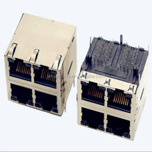 Side entry Shield Double row 2 port female Magnetic RJ45 Surface Mount Jack