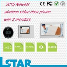 2015 Newest Design video door phone intercom with Two monitors (one on the wall, the other for handhold)