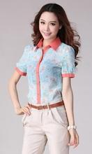 las mujeres blusa de gasa de la impresión de la flor de la manera de la gasa de la blusa de manga corta Flores Mujer Parte super
