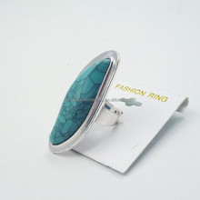 China Wholesale Fashion Alloy Jewelry Silver Plated Turquoise Finger Ring
