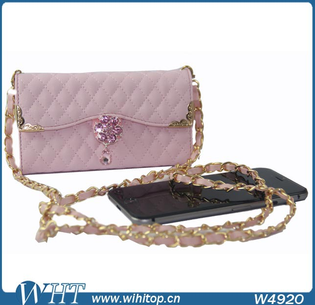 pink birkin bag - Wholesale Long Chain Leather Case for iPhone 6, Camellia Diamond ...