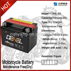 YTX4L-BS Motorcycle battery for china 400cc motorcycle
