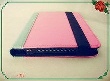 Assorted colors PU leather tablet case for universal 7 inch tablet PC(sky blue and romantic pink)