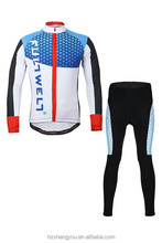 Men's Sublimation Print Cycling Long Sleeve Jersey Sets Coolmax 3-D Silicon Gel Pad Full zipper Biking Jersey