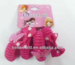 girls pink polk dot of elastic headband