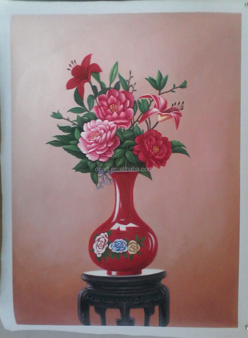 Home Deco Beautiful Flowers In Vase Oil Painting Buy Oil Painting