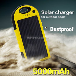 Private Label Waterproof Solar Power Bank for Mobile Phone,5000mAh Solar Charger,Portable Solar Battery Charger for SmartPhone