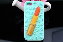 [Wholesale]New 3D diamond lipstick silicone phone case back cover for iphone 6/Plus #A1055 / Ship within 24-48hours, moq 1piece