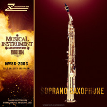 Excellence instruments of music Golden lacquered soprano saxophone of manufacturer made