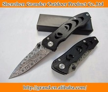 OEM tactical survival knives pocket camping knife rescue tool hand Damascus steel 57HRC blade aluminum handle 1017