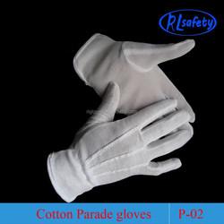 white marching cotton parade glove polk dot band