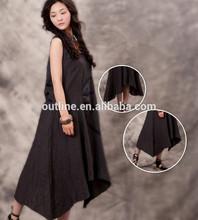 De haute qualité haute 2014/faible 100 coton grande taille noir dames robe pull