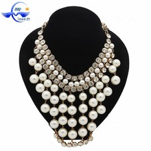 Wholesale fashion statement jewelry, multilayer tassel pearl necklace jewelry